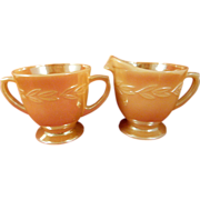 Fire King Oven Ware Creamer and Sugar Made in USA