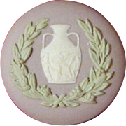 Wedgwood Tri Color Jasper Ware Button Lilac Green White Portland Vase 1962