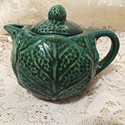 Wonderful Majolica  Green Cabbage Teapot