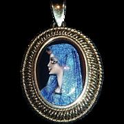 Virgin Mary Pendant - Lourdes – Hand Painted Enameled Porcelain – 14 K. Gold Frame †...