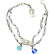 1930's Communion M.O.P. Rosary Bracelet with Sterling Silver and Enamel Medals