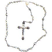 Pre WW2 Vintage Mother of Pearl and Sterling Silver Catholic Rosary Large Cross