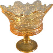 """Fostoria """"Navarre"""" Pattern Gold Colored Footed Compote"""