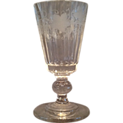 Engraved Bohemian Wine Glass