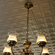 SALE Brass 5 arm chandelier