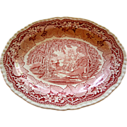 Mason's 13 Inch Oval Platter in the Vista pattern - Ironstone Red Transferware by Mason's
