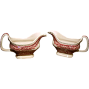 Franciscan Pink Vista Mason's Pattern Gravy Boats - Ironstone Red Transferware