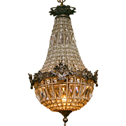 19th Century Neo-Classical Crystal Empire Chandelier