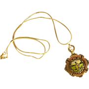 English Enamel Sterling Fob Medal Necklace-Cricket Player-c.1926