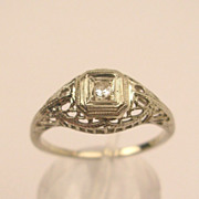 Art Deco 18K Diamond Filigree Ring c.1927