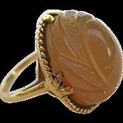 Vintage 14K Carved Agate Dome Ring c.1960