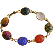SOLD Vintage Egyptian Revival 14k Scarab Gemstone Bracelet - 1960's