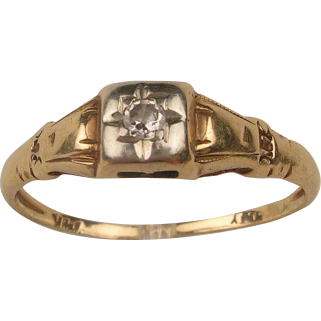 vintage 14k engagement promise ring from
