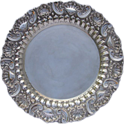 Large Repousse Silver Serving Platter/Tray-Portuguese c. 1940s