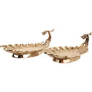 Pair Sterling Aesthetic Figural Almond Dishes-Wood & Hughes-c.1875