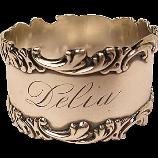 Vintage Sterling Napkin Ring  **Delia**