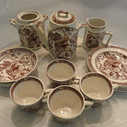 SALE Antique Set of Child's Dishes Made By Allerton in England, Brown Transferware