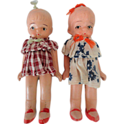 SALE SALE Pair 40s Japan All Bisque Girls, Never Played With