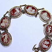 REDUCED 14KT Gold Gennaro Borriello Hand Carved Shell Cameo Bracelet