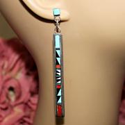 REDUCED Vintage Native American Navajo Inlay .925 Long Silver Pierced Earrings