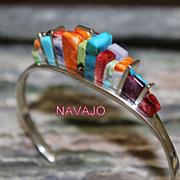 REDUCED Native American RainBow Yei Stone Navajo Sterling Bracelet
