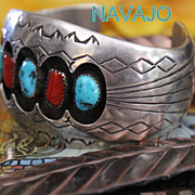 Native American Heavy Shadowbox Turquoise and Coral Cuff Bracelet