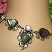 Labradorite Vintage Sterling And Fresh Water Pearl Necklace