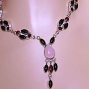 Garnet/Onyx/Carnelian Multi-Settings Vintage Necklace