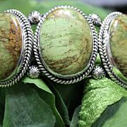 REDUCED Native American Gaspeite Sterling Cuff Bracelet