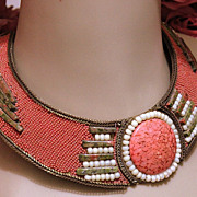 Vintage 1987 Hansen Beaded Collar Necklace