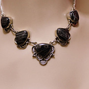 Vintage Sterling Black Lace Onyx Necklace