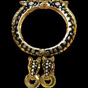 REDUCED Vintage Enamel and Goldtone Kissing Giraffe Hinge Bracelet Set