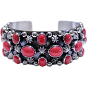 REDUCED Native American Silver Pink Coral Cuff Bracelet