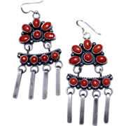 REDUCED Native American Coral Betz Style Sterling Earrings