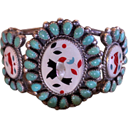 REDUCED Native American Zuni Inlay Turquoise Bracelet