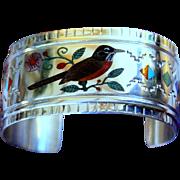 REDUCED Native American Zuni Mosaic Inlay Sterling Cuff