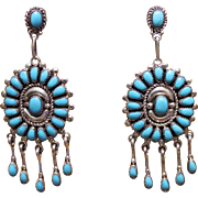 REDUCED Native American Zuni Turquoise Sterling Pierced Earrings