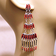 REDUCED Native American Zuni Coral Earrings