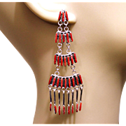REDUCED Native American Zuni Coral Earrings
