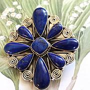 REDUCED Native American Navajo Sterling Lapis Pin/Pendant