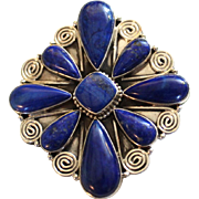 REDUCED Native American Navajo Sterling Lapis Pin/Pendant