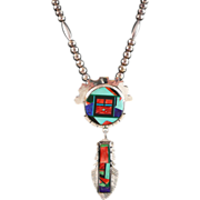 SALE Huge Frank Yellowhorse Gemstone and Sterling Navajo Inlay Necklace