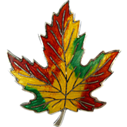 Sterling Enamel Maple Leaf Brooch c1950