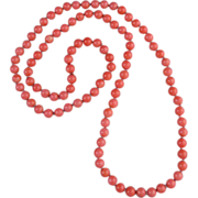 SOLD Long Pink Coral Bead Necklace 33""