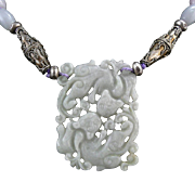 """SALE Chinese Carved and Pierced Jade Double Kylin Pendant Necklace 28"""""""