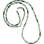 """Vintage Blue Green Glass Bead Necklace 43"""""""