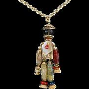 "Vintage Jointed Man with Gemstone Bead Necklace Designer Signed 25"""