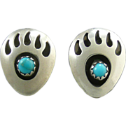 Bear Paw Sterling and Turquoise Earrings