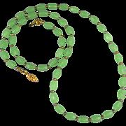 "Vintage Green Chrysoprase Color Glass Necklace 29"""