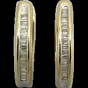 SALE 14K and Diamond Baguette Earrings